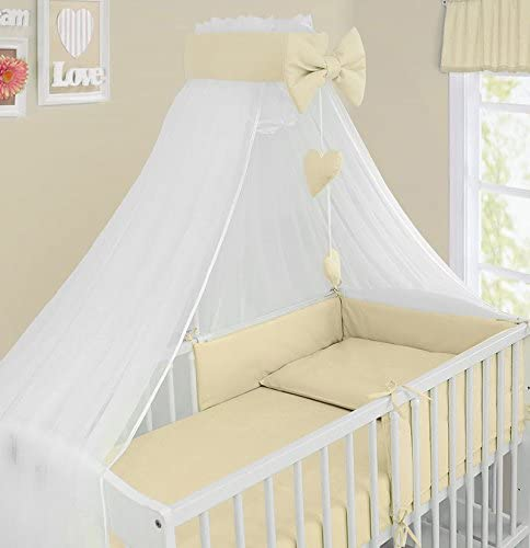 BABY CANOPY CRIB DRAPE MOSQUITO NET WITH HOLDER TO FIT CRIB LADDER CREAM