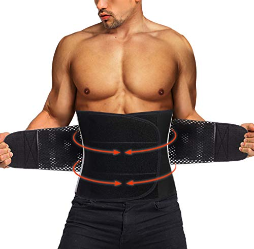 Neoprene Waist Trimmer Ab Belt for Men Weight Loss Trainer Slimming Body Shaper Workout Sauna Hot Sweat Band (Black with Elastic Band, M)