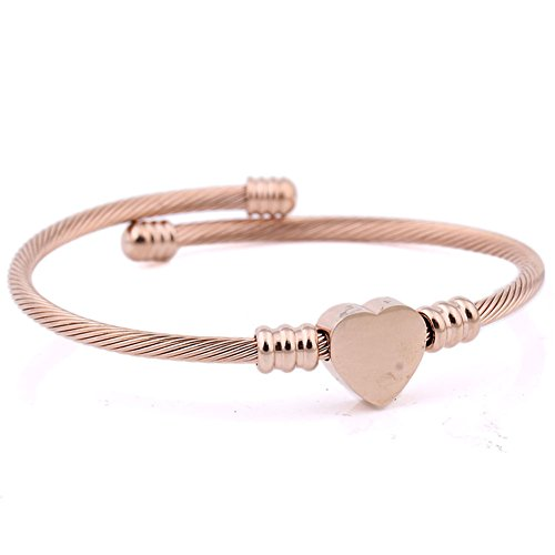 Gold Twisted Heart (RoseSummer Titanium Steel Heart Shaped Charm Bracelet Titanium Steel Cable Wire Cuff Twisted Bangle Bracelet (Rose Gold))