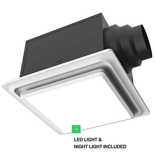 Aero Pure ABF80 L5 W ABF80L5 Ceiling Mount 80 CFM w/LED Light/Nightlight, Energy Star Certified, White Quiet Bathroom Ventilation Fan