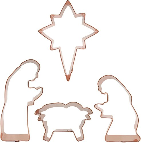 Nativity Scene Cookie Cutters Set, in solid copper, by CopperGifts.com