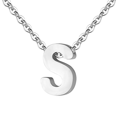 TOUGHARD Polished Tiny Initial Alphabet Letter Pendant Necklace, Delicate Charm Jewelry for Girls Women (S:Silver Tone)