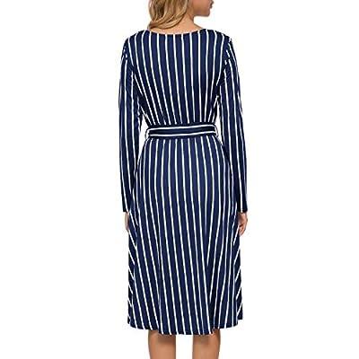 levaca Women's Flowy Striped Long Sleeve Pocket Modest Work Midi Dress with Belt at  Women鈥檚 Clothing store