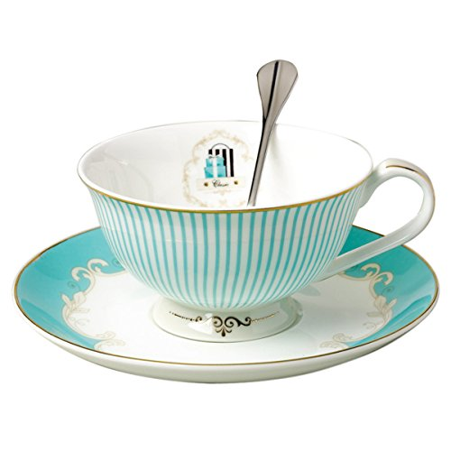 Jusalpha Vintage Blue Bone China Teacup Coffee Cup Spoon and Saucer Set (FL-TCS01) ()