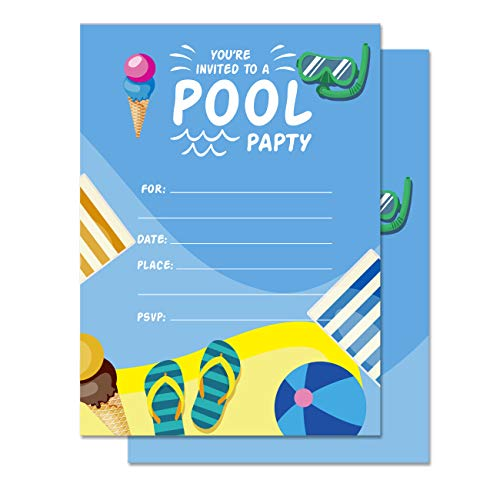 25 Summer Swim Pool Party Invitations with Envelopes | Boys or Girls Pool Party Supplies | Summertime Birthday Celebration Invitation Cards -