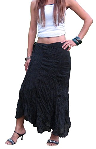 Billy's Thai Shop Cotton Wrap Skirt Hippie Wrap Skirt Boho Skirts for Women, Black S (Solid Crinkle Skirt)