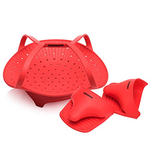 EasyVeggie Silicone Steamer with 2 Multipurpose Oven Mitts...