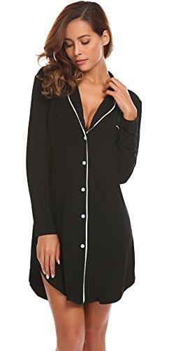 Button Front Nightshirt - Sweetnight Women Boyfriend Style Long Sleeve Sleepwear Luxury Button-Front Nightshirts
