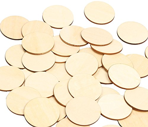 RERIVER 2-Inch Wood Circles 50pcs Unfinished Round Blank Wooden Cutout Slices Discs DIY Crafts for Book Signing Sunday School Birthday Game Boards, 50 Piece