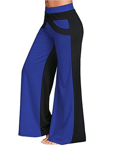 GAMISS Women Casual Loose Wide Leg Yoga Pants Elastic Waist Flared Bell Bottom Pants(Blue and Black,2XL) -