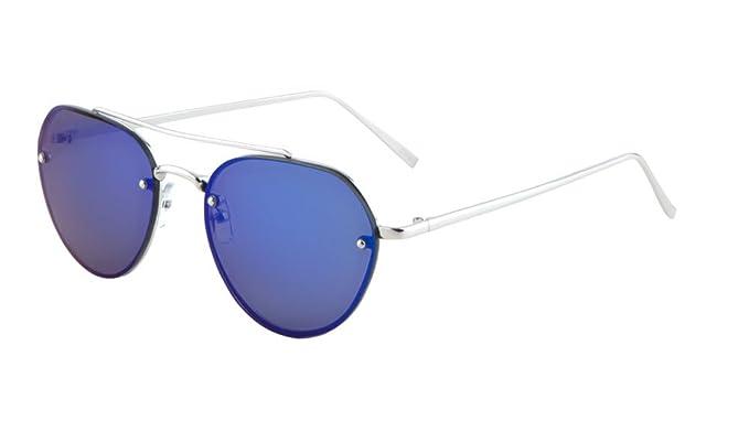 f33609ae4870 Rimless Aviator Sunglasses Mirror Lens Runway Fashion Mens Womens Eyewear  (Blue 56mm