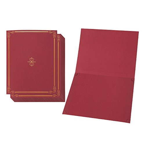 12-Pack Certificate Holder - Diploma Cover, Document Cover for Letter-Sized Award Certificates, Red, 11.2 x 8.7 Inches ()