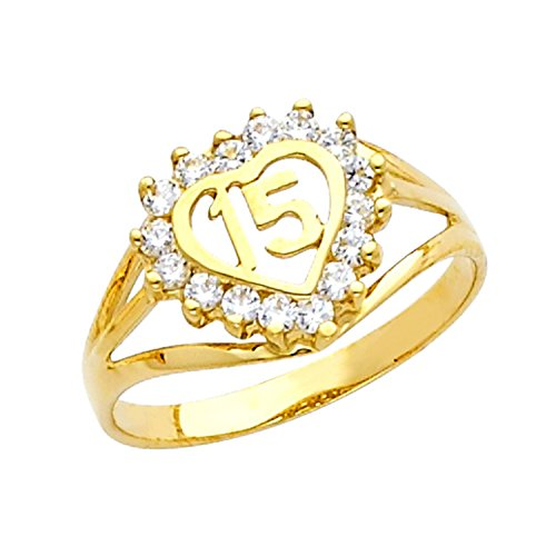 14k Yellow Gold Sweet 15 Anos Quinceanera Heart Ring with Cubic Zirconia (Size 10) by Quinceanera Jewelry