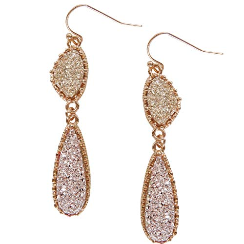 Humble Chic Simulated Druzy Drop Dangles - Gold-Tone Long Double Teardrop Dangly Earrings for Women, Ombre Gold-Tone/Rose Gold-Tone Stones, Gold-Tone, Pink
