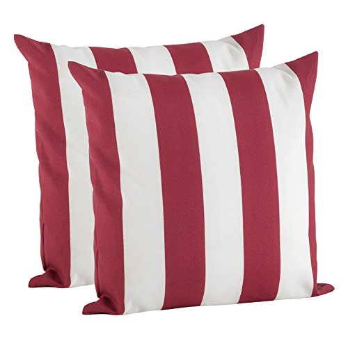 "SARO LIFESTYLE Outdoor Pillow Collection 2 Pc Set Striped Cover/1903.R17S, 17"", Red"
