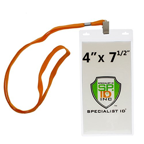 10 Pack - Special Event 4X7 Extra Large Ticket Holders with Lanyards for Pit Passes and Playoff Games (Orange)
