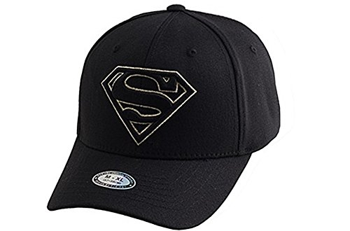 myglory77mall Superman Shield Embroider Baseball Cap Spandex Fitted Trucker Hat Black/Gold Stitch S