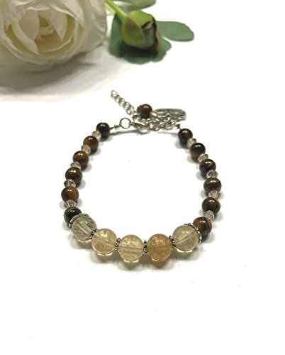 Citrine Tigers Eye Bracelet - Natural Citrine and Tiger's Eye Bracelet. Crystal Accents and Lotus Charm. Stones of Luck and Good Fortune. Third Eye, Throat, Heart, Sacral and Solar Plexus Chakra Balance.