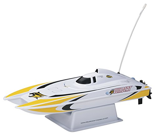 Aquacraft Models RTR Remote Control RC Boat: Mini Wildcat Electric Catamaran with 2.4GHz Radio, Servo, 2 in 1 Receiver / ESC,  Dual Motors, 7.2V 1100mAh NiMH Battery, and Charger (Yellow)