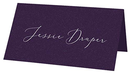Metallic Grape Folded Place Cards, Colors Matt, 115lb, 25 Pack