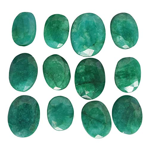 Approx 60 Ct / 12 Pcs Natural Oval Cut Colombian Loose Green Emerald Gemstones Lot