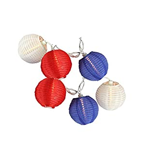 Sienna Red White And Blue Round Chinese Lantern Patio Lights With White  Wire, Set Of 10
