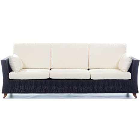 White All Things Cedar PR90w Rattan 4 Seater All Weather Wicker Sofa with Cushion