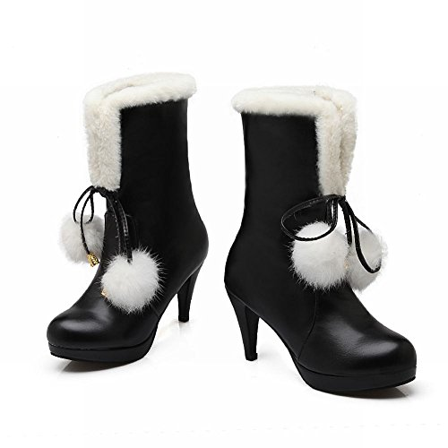 Latasa Womens Fashion Cute Lolita Cold Weather Pom-poms Side Zipper Mid-heel Short Snow Winter Boots Black FurifQc94