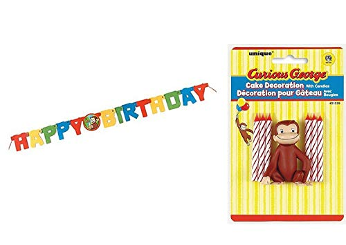 Curious George Cake Topper & Birthday Candle Set and Happy Birthday Banner (combo pack) Curious George Cake Topper