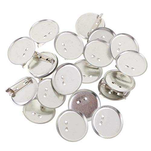 20pcs Alloy Brooch Badge Finding DIY Tool Safety Pins Bar Pin Craft Silver Color (Size - 3.5 cm)