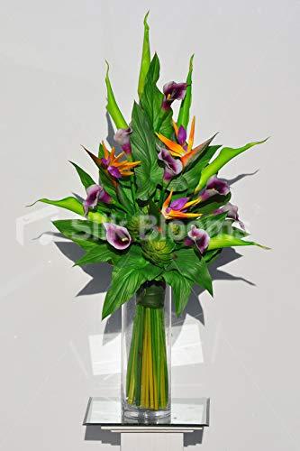 Green Goddess Calla Lily - Silk Blooms Ltd Artificial Purple Centred Calla Lily and Bird of Paradise Arrangement w/Green Goddess Lilies