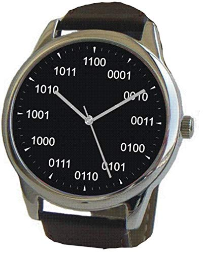 atch Shows Binary Hour Indicators on the Black Dial of the Large Polished Chrome Watch with Black Leather Strap ()