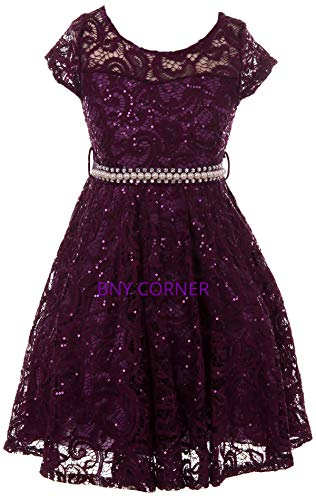 Big Girl Cap Sleeve Floral Lace Glitter Pearl Holiday Party Flower Girl Dress Purple 16 JKS 2102