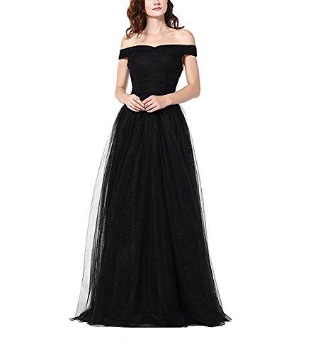 Ak Beauté D'une Ligne De Femmes Tulle Au Large De La Robe De Soirée Épaule Robes De Demoiselle D'honneur Longue Robe De Bal Noire