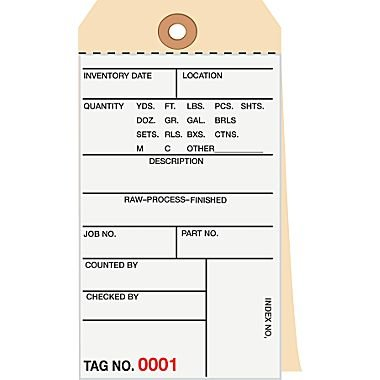500 Inventory Tags - Size 6.25 x 3.12 Inches - Numbered 000-499