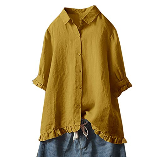 (TUSANG Women Shirt Lace Button Turn Down Collar Middle Sleeve Solid Color T-Shirt Top Blouse Loose Fit Comfy Tunic(Yellow,US-18/CN-5XL) )