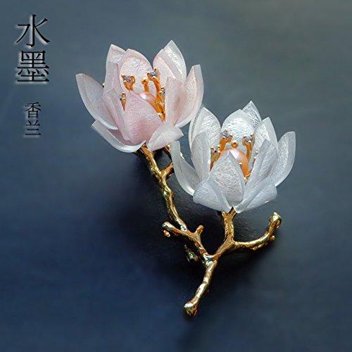 (TKHNE Italian handmade zircon necklace pendant pearl brooch pin badge dual birthday gift orchid corsage brooch pin badge necklace pendant plated 18k)