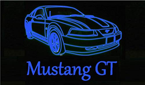 Mustang GT Led Sign Light Blue