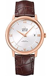 Omega Deville Co-Axial Automatic Silver Dial Rose Gold Brown Leather Mens Watch 42453402002001
