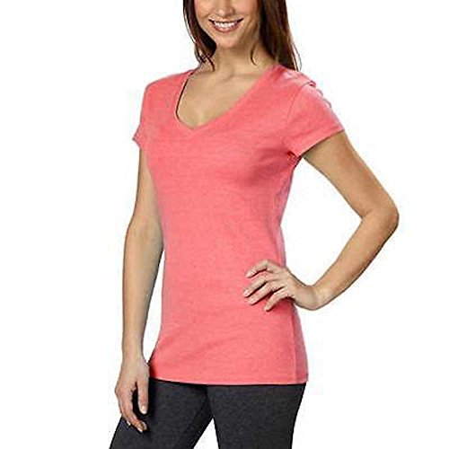 Kirkland Signature Ladies Cotton V-neck Tee (Large, Pink)