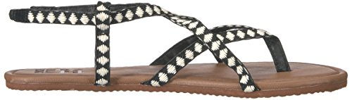 Billabong Femmes Traversant Plus De 2 Sandales Plates Noir / Blanc