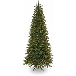 National Tree 7.5 Foot Tiffany Fir Slim Tree with 600 Clear Lights (PETF3-304-75)