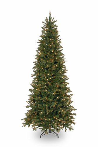National Tree 7.5 Foot Tiffany Fir Slim Tree with 600 Clear Lights (PETF3-304-75) (Reuse Christmas Tree)