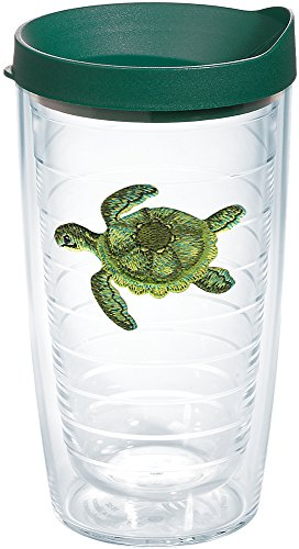 Tervis 1254380 Green Turtle Tumbler with Emblem and Hunter Green Lid 16oz, -