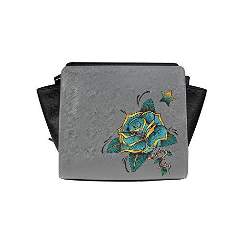 Meincare Women's Blue Rose Pu Leather Satchel Bag