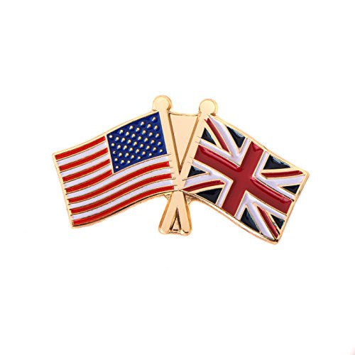 United Kingdom UK Country Double Flag Lapel Pin Enamel with United States USA US Made of Metal Souvenir Hat Men Women Patriotic Great Britain
