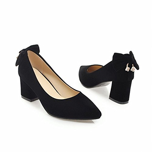 Mee Shoes Damen Chunky Heels Blockabsatz mit Schleifen Pumps Schwarz