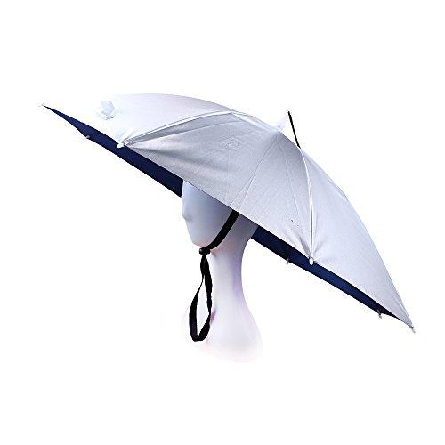 JANGANNSA Fishing Umbrella Hat Folding Sun Rain Cap Adjustable Multifunction Outdoor Headwear (Silver) -