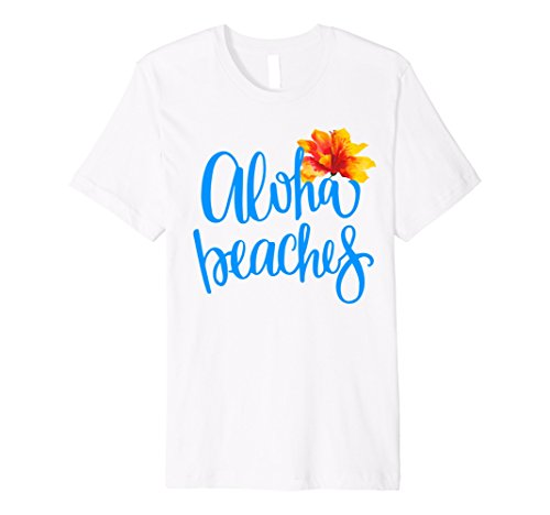 Mens Aloha Beaches Summer Beach Vacation Hawaii T Shirt  Large White