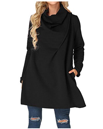 Michelle Obama Dress - ZANZEA Womens Cowl Neck Plus Size Sweater A Line Swing Dress Turtleneck Knitted Sweatshirt Long Sleeve Black US 12